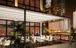 Pergola modelo Pergo-rain para hosteleria con iluminacion led