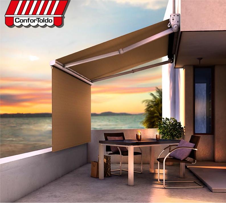Toldo extensible con toldo vertical confortoldo for Toldo lateral para terraza